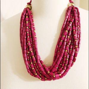 Cost plus world market magenta beaded necklace